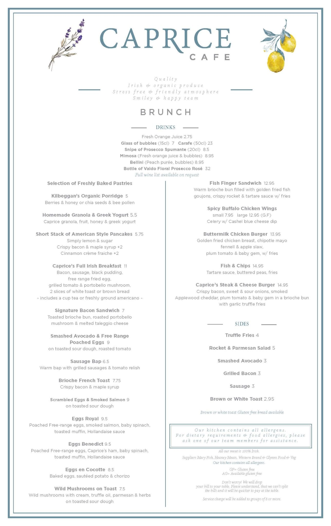 Brunch menu caprice caf for Best brunch menu