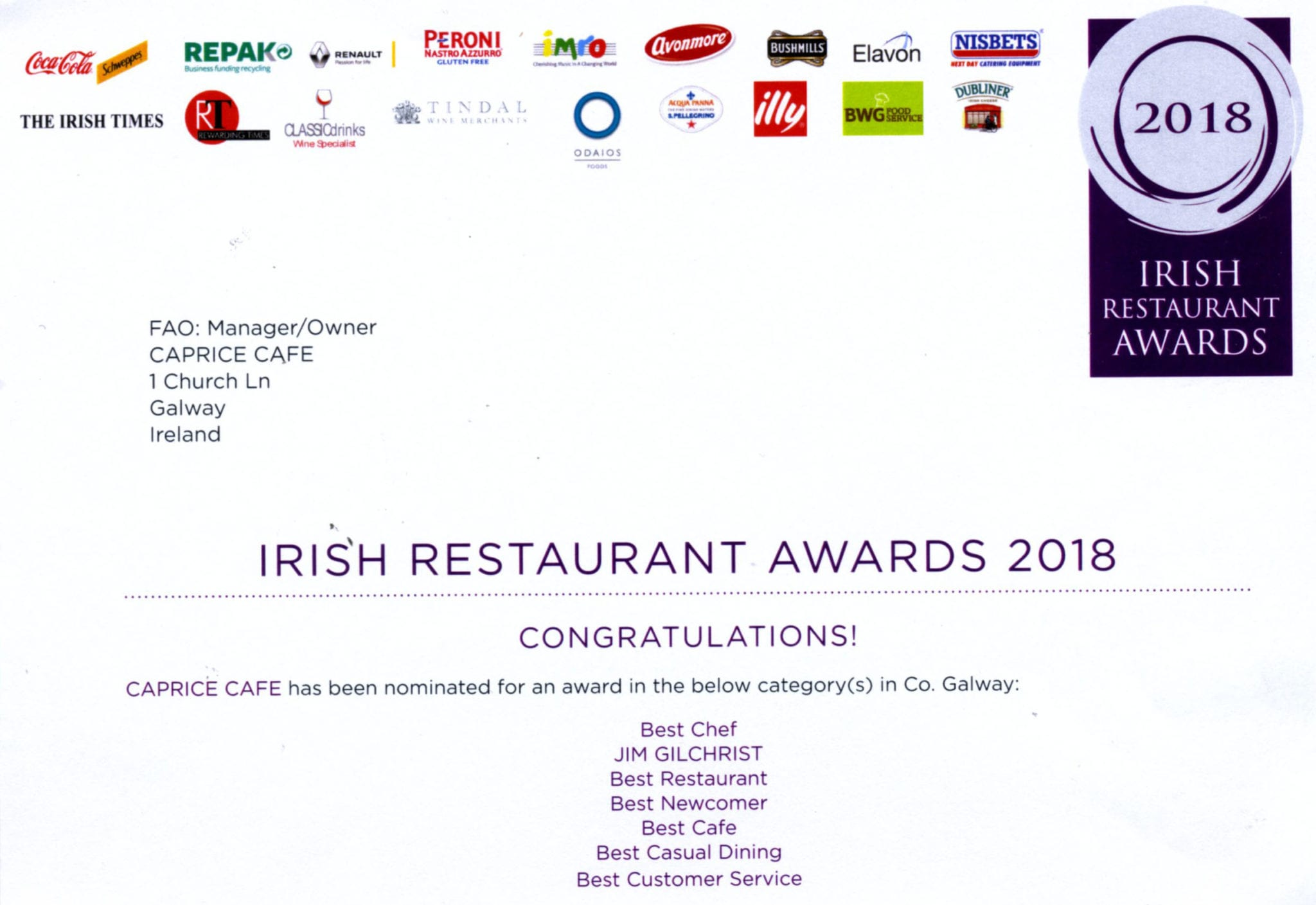 Caprice nominated for the Irish Restaurant Awards 2018